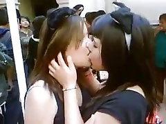 Brunette, Lesbian, Teen, Kissing