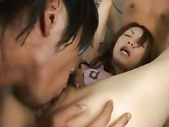 Blowjob, Cumshot, Japanese, Masturbation, Threesome
